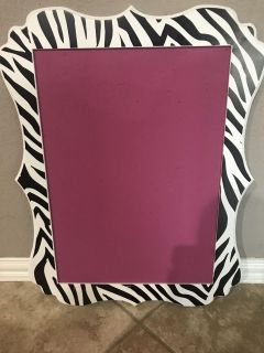 White and black zebra print with hot pink push pin board