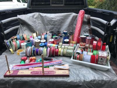 Bow Maker & Over 100 Spools Of Ribbon and a Tote