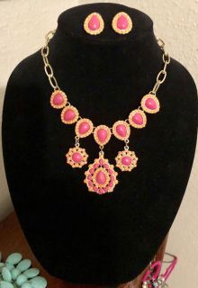 Pink, orange and gold statement necklace