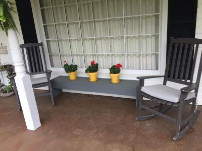 Wood Bench Painted Gray **Yellow Potted Plants For Sale also**