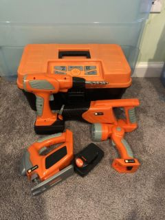 Kids power tools with battery packs and talking tool box