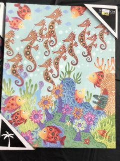 Fish coral reef canvas art new with tags