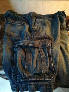 Mens size 38 denim cargo shorts. Great condition. Needs a quick press or get out of dryer quicker than me. $3