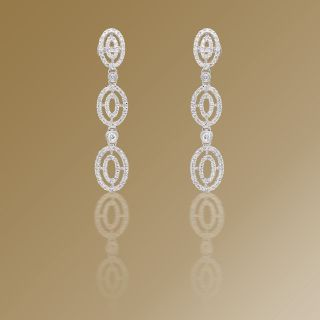 Ladies Diamond Drop Earrings in 18k White Gold