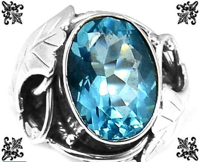 New - Blue Quartz 925 Sterling Silver Ring - Size 6 1/2