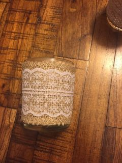 Burlap and lace wrapped votive candle holders- set of 6
