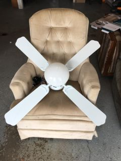 Small white lighted ceiling fan