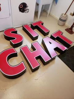 Large Red Letters SIT CHAT Home Decor