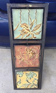 Metal, 3 piece wall painting of plants