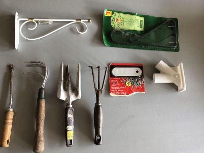 Outside Stuff: Garden Tools, Plant Hangers, Flag Pole Holder (See Pictures)