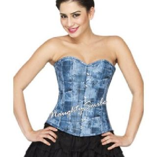Stunning Blue Faux Leather in Denim Look Corset NS-1223