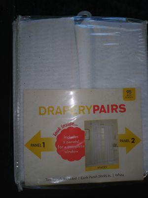 New pair of white drapes 59 wide 95 long pick up Sachse or Allen call or text 214-584-7557