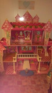 Large wooden Barbie house with furniture