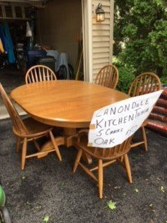 Oak Dining Table & 5 Chairs