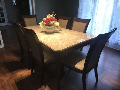 Marble table, 6 chairs, server