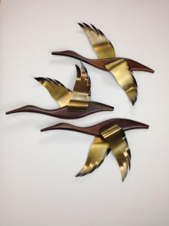 Mid-Century Wooden Wall Hanging Flying Geese Set of 3