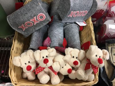 8 new Valentine Cloth Mailboxes and 5 new stuffed puppy dogs.