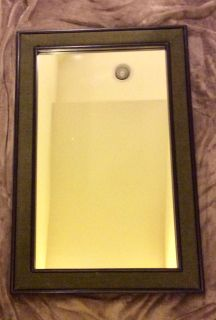 Mirror 24x36h hangs vertically or horizontally . Nate Berkus design. Black with bold linen Olive inset (paintable)