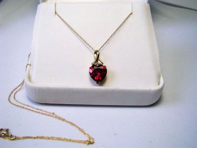 """10K Gold Ruby Heart Design w/ Diamond Accent 19"""" Necklace"""