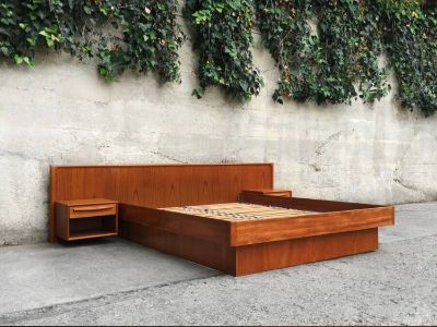 Danish Mid Century Teak Queen Platform Bed