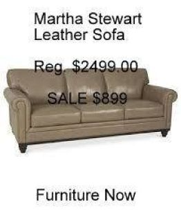 Martha Stewart Bradyn All Leather Sofa Reg.$2499. Furniture Now