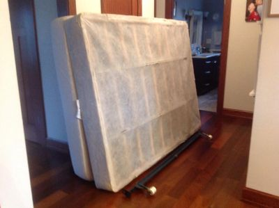 FREE Queen sized mattress, box springs and bed frame.