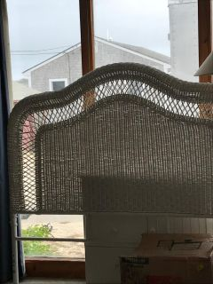 White wicker Queen headboard and more