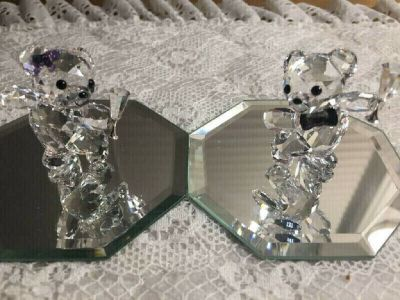 Adorable Pair of Mini Crystal Teddy Bears