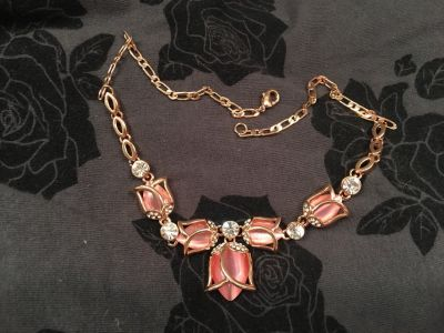 Rose gold opal tulip necklace