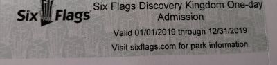 Six Flags Discovey Kingdom One Day Admission Tickets