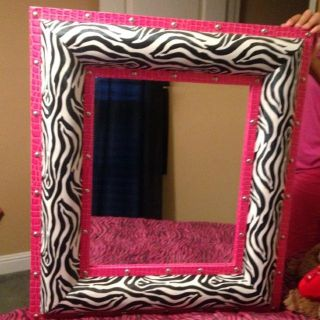 Hot pink and zebra mirror