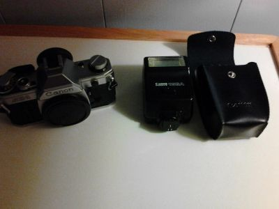 Canon AE-1 with many accessories