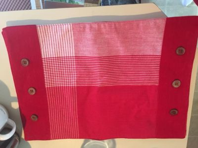 4 Handmade Red Cotton Placemats with Button Accents