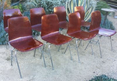 Set of 8 vintage Royal Pagholz bent plywood chairs