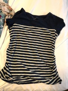 Blue and white strip maternity top