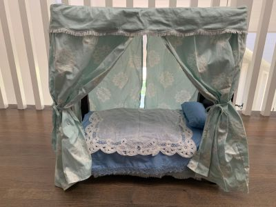 American girl wooden canopy doll bed