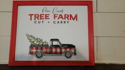 New! Canvas chalked decor with vintage truck design