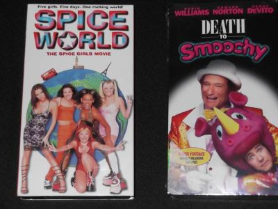Spice World and Death to Smoochy VHS tapes