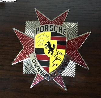 Beautiful Vintage Porsche Owners Club Car badge