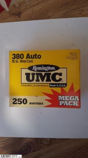 For Sale: remington umc .380 250 rnds.