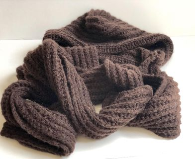 Womens Hooded Brown Knit Winter Scarf