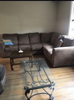 FREE DELIVERY - BEAUTIFUL NEW BROWN SUEDE L SHAPE COUCH - PERFECT CONDITION