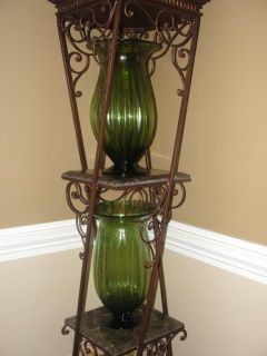 BEAUTIFUL TALL GREEN GLASS VASES SET OF 2