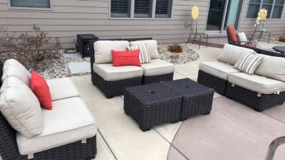 Eight piece patio set with All pillows and cushions