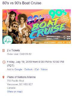 80's & 90's Boat Cruise Tickets
