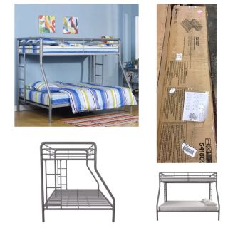 DHP Twin Over Full Metal Bunk Bed Frame,Silver