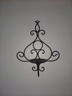 11 in. 13 tall Wide Black metal wall cancel holder excellent condition