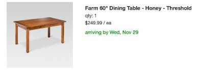 Nearly new Farmhouse dining room table with 4 chairs and bench!