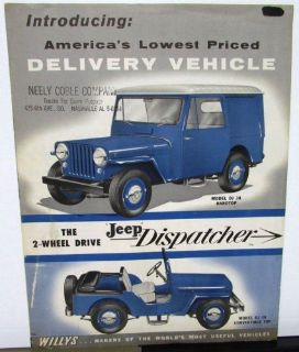 Buy 1956 Jeep Dispatcher Model DJ 3A Hardtop & Convertible Willys Brochure ORIGINAL motorcycle in Holts Summit, Missouri, United States, for US $29.56