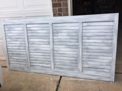 SHUTTER STYLE KING HEADBOARD...Country farmhouse look.. solid wood.. 6 1/2ft long by 40